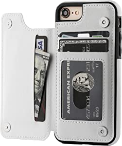 OT ONETOP iPhone 8 Wallet Case with Card Holder, iPhone 7 Case iPhone SE(2020) Wallet Premium PU Leather Kickstand Card Slots,Double Magnetic Clasp and Durable Shockproof Cover 4.7 Inch(White)