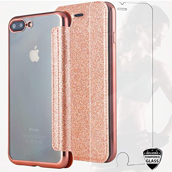 buy online dd5ba 3e420 iPhone 7 Plus Case,iPhone 8 Plus Case with Glass Screen Protector,DICHEER  Rose Gold Bling Leather Case Soft TPU Cover for Girls Women, Protective  Slim ...