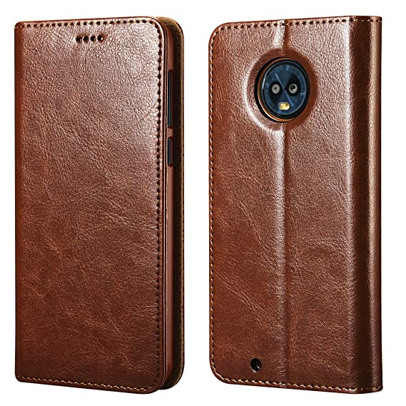 pretty nice 60366 64b8f Moto G6 Case,ICARERCASE Vegan Leather Wallet Case/Flip Case Protective  Shock Resistant Case Cover with Credit Card Slots for Motorola Moto G6  (Brown)