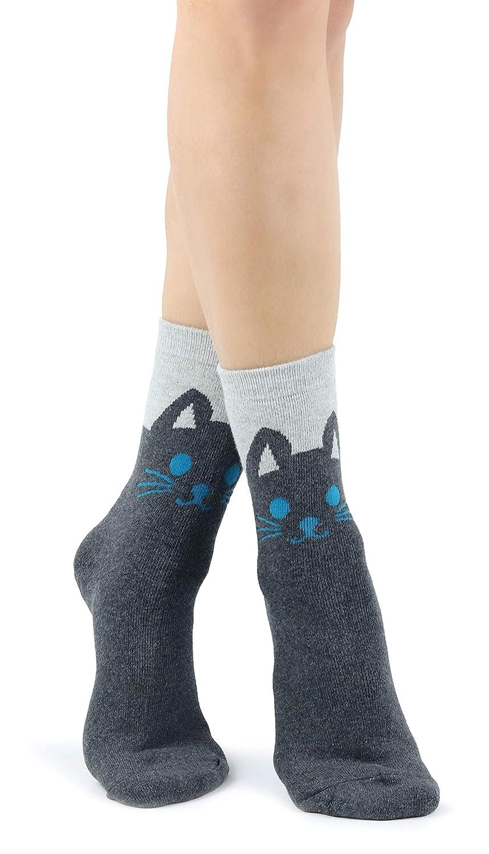 Mixmi Boutique Calcetines térmicos tobilleros gris oscuro y gris claro con linda cara de gato: Amazon.es: Ropa y accesorios