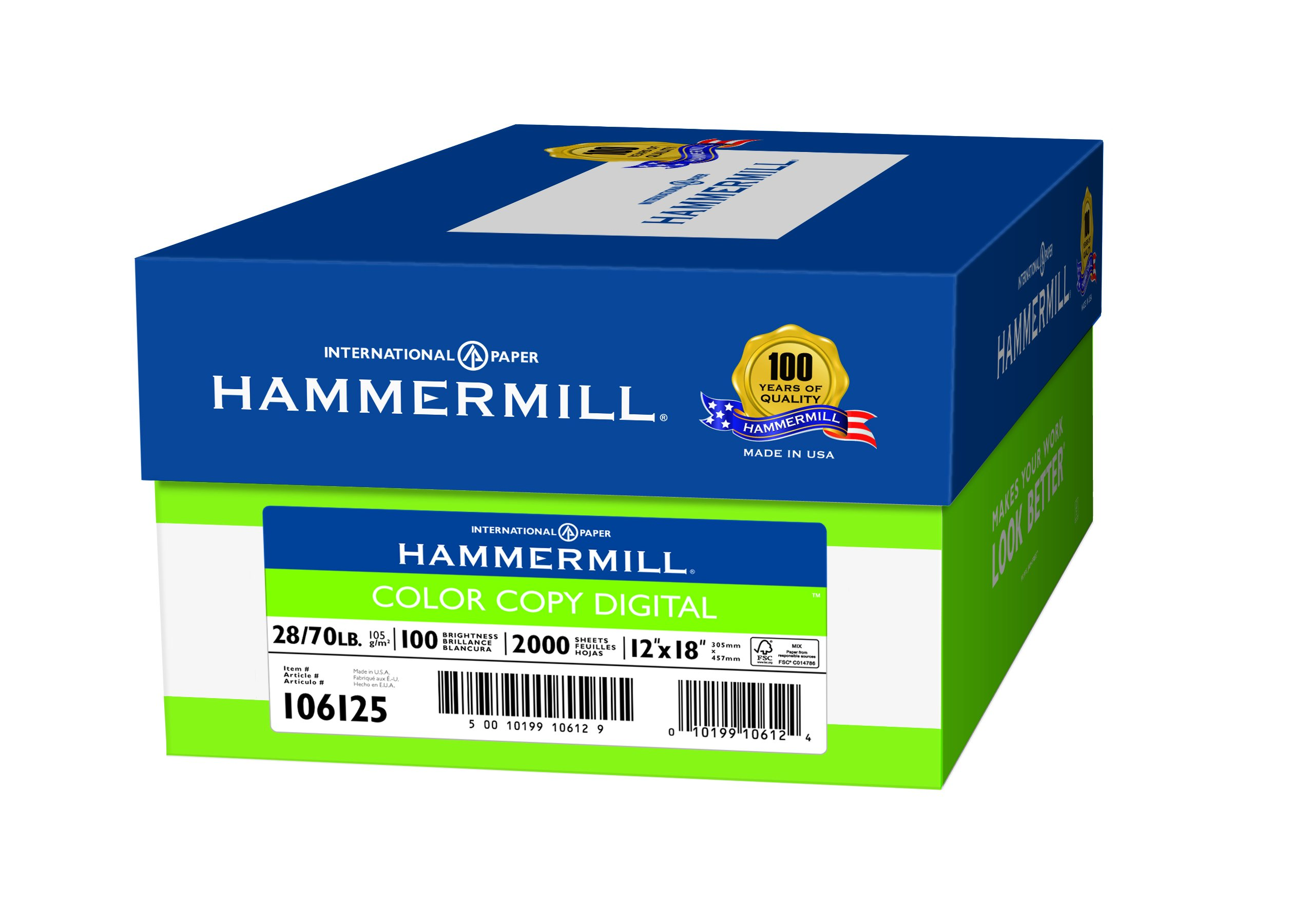 Hammermill Paper, Color Copy Digital, 28lb,  12 x 18, 100 Bright, 2000 Sheets / 4 Ream Case (106125C), Made In The USA