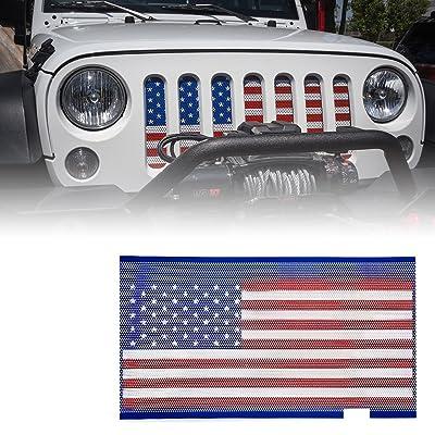 Xprite Grill Mesh Inserts American Flag Matte Steel Mesh Grille Grid for 2007-2020 Jeep Wrangler JK JKU: Automotive