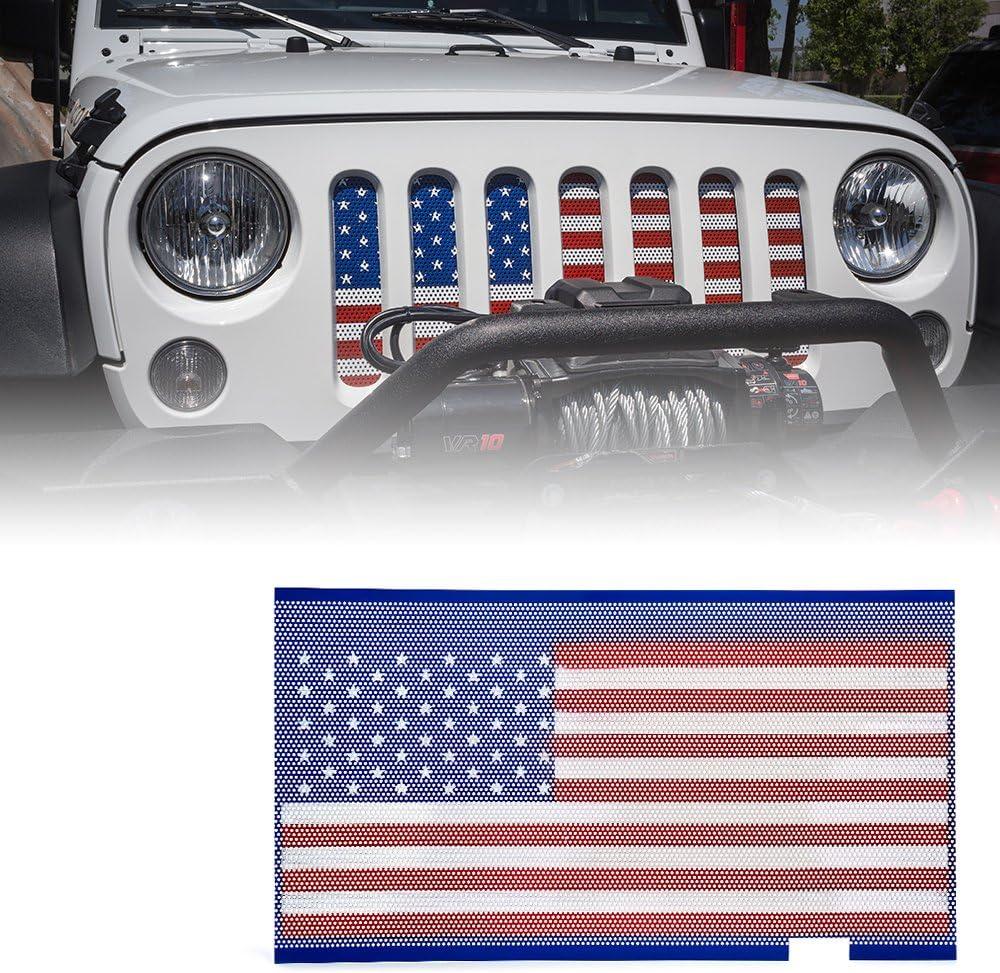 Xprite Grill Inserts Mesh American Flag Matte Steel Mesh Grille Grid for 2007-2018 Jeep Wrangler JK JKU