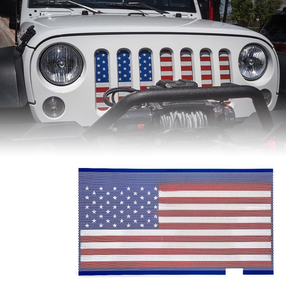 Xprite American Flag Steel Mesh Insert for Jeep Wrangler JK JKU 2007-2018 Original Front Hood Matte Grill Grille Grid ZS-0001-FLAG