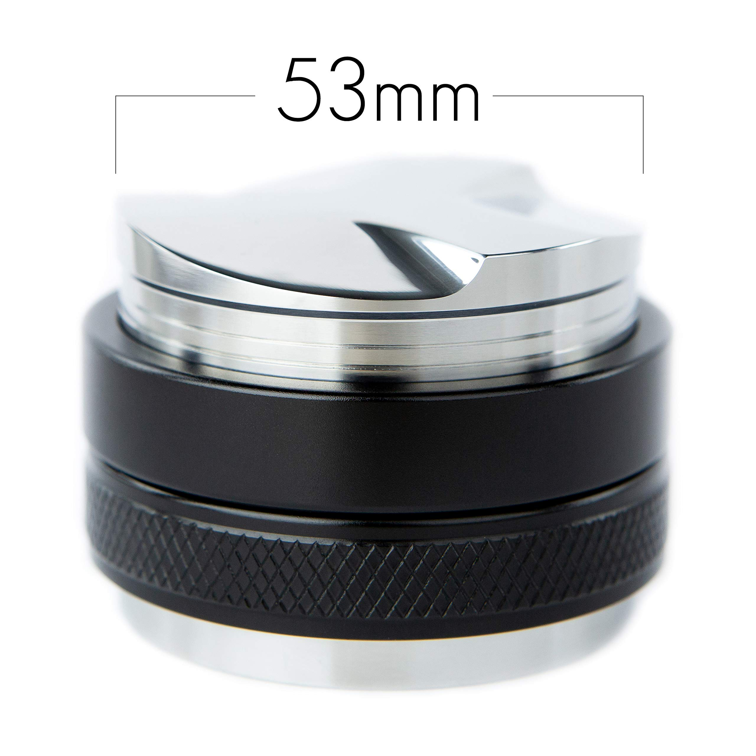 53mm Coffee Distributor/Leveler & Tamper, Fits 54mm Breville Portafilter, Double Sided, Adjustable Depth by Crema Coffee Products