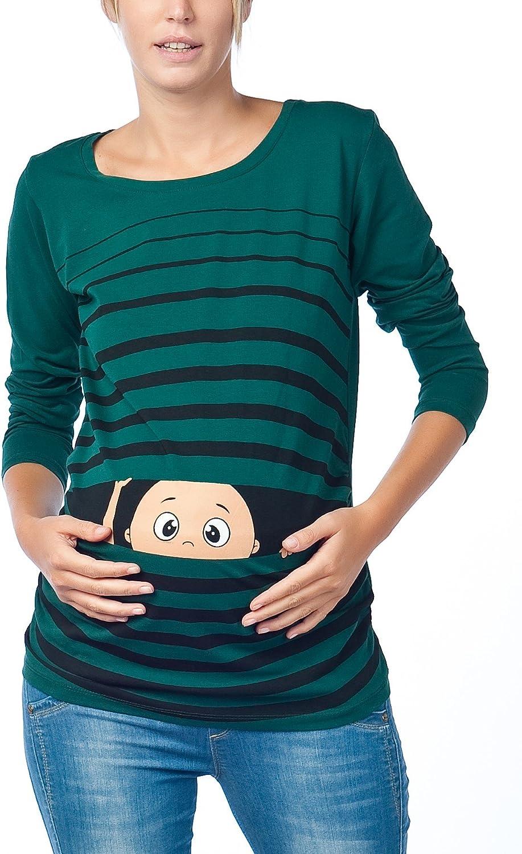 Witzige s/ü/ße Umstandsmode T-Shirt mit Motiv Schwangerschaft Geschenk Langarm