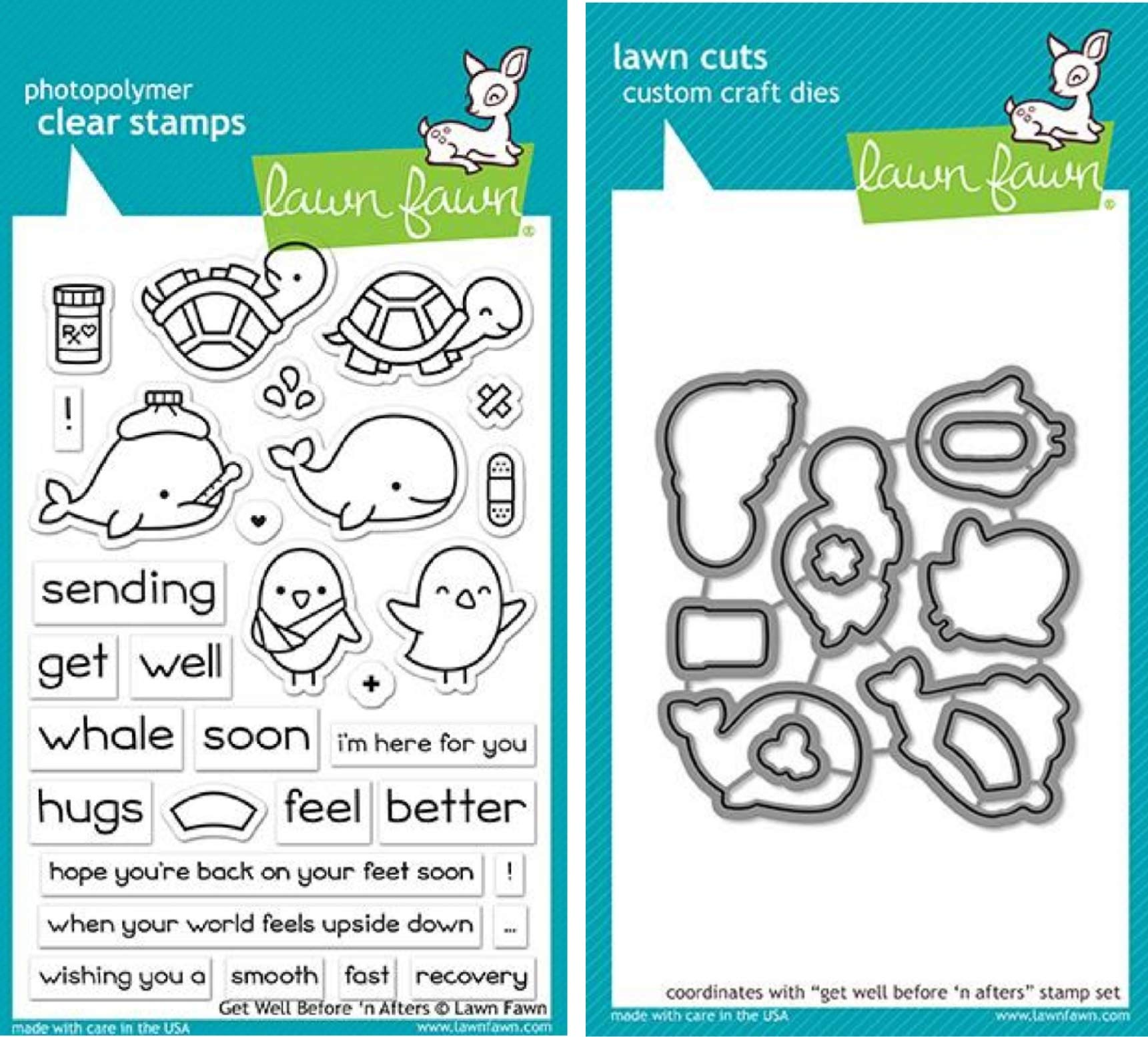 Lawn Fawn Get Well Before 'n Afters 4''x6'' Clear Stamp Set and Matching Lawn Cuts Die Set (LF1886, LF1887), Bundle of Two Items