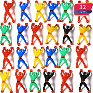 Blulu 32 Pieces Window Crawler Men, Multicolored Sticky Wall Climbers Rolling Men Novelty Stretchy Sticky Toys for Party Favor (32 Pieces)