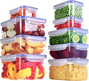 Utopia Kitchen Plastic Food Storage Container Set - 18 Pieces (9 Containers and 9 Lids) - Transparent Lids - BPA Free