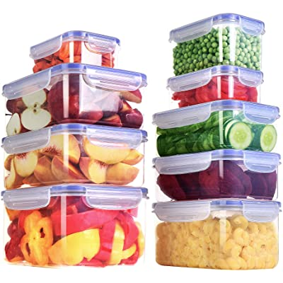 Buy Utopia Kitchen 18 9 Containers And 9 Lids Pieces Plastic Food Container With Lids Food Storage Containers Leftover Food Containers Transparent Lids Bpa Free Online In Germany B08cnfjjx3