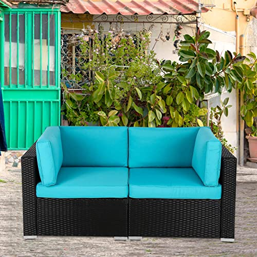Kinsuite Outdoor Patio Loveseat 2 Pieces All-Weather Rattan Sectional Corner Sofa PE Wicker Chairs with Blue Removable Cushions