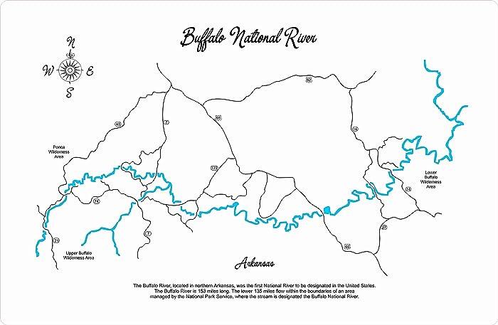 Amazon.com: Buffalo National River, Arkansas: Framed Wood Map Wall
