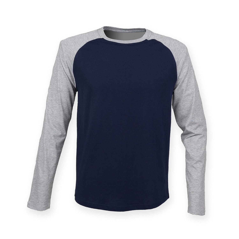 Skinnifit - Camiseta de mangas largas Raglan Modelo Baseball hombre caballero jmAWSz
