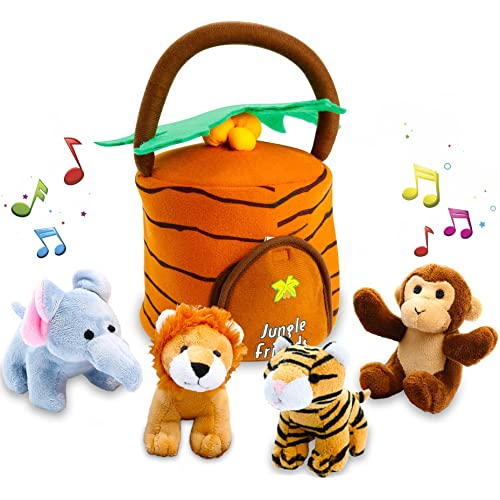 kleeger plush talking jungle animals toy set 5 pcs plays sounds with carrier