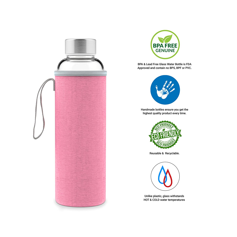 GEO 18 oz Borosilicate Glass BPA Free Leak-Proof Water Bottle w//Silicone Protective Sleeve Geo Sports Bottles