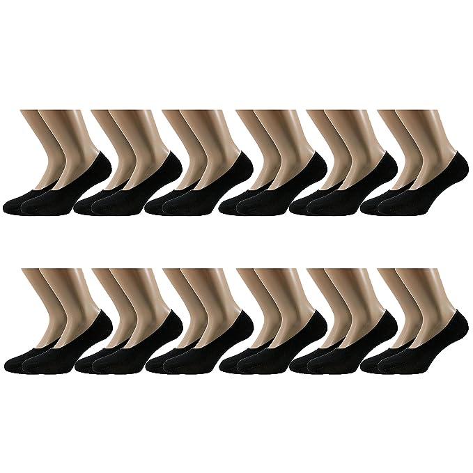 Fontana - 12 pares de calcetines invisibles, higiénicos, de algodón de hilo de Escocia elastizado: Amazon.es: Ropa y accesorios