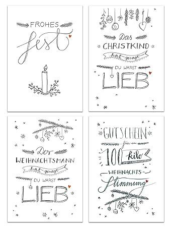 12 gemischte Weihnachtskarten - Set in Schwarz Weiß Kalligrafie ...