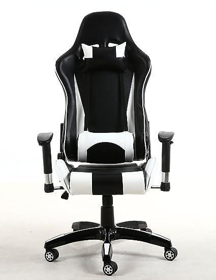 BTEXPERT ergonimic respaldo alto piel sintética oficina silla Gaming silla reclinable inclinada reposacabezas almohada lumbar apoyo