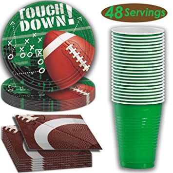 8f4398dc517a Amazon.com  Football Party Supplies - 48 Servings - Dinner plates ...