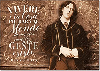 Wall Sticker Poster Adesivo Murale Frasi Aforismi Oscar Wilde Vivere è la cosa più rara al mondo La maggior parte della gente esiste, questo è tutto   Gigio Store ©