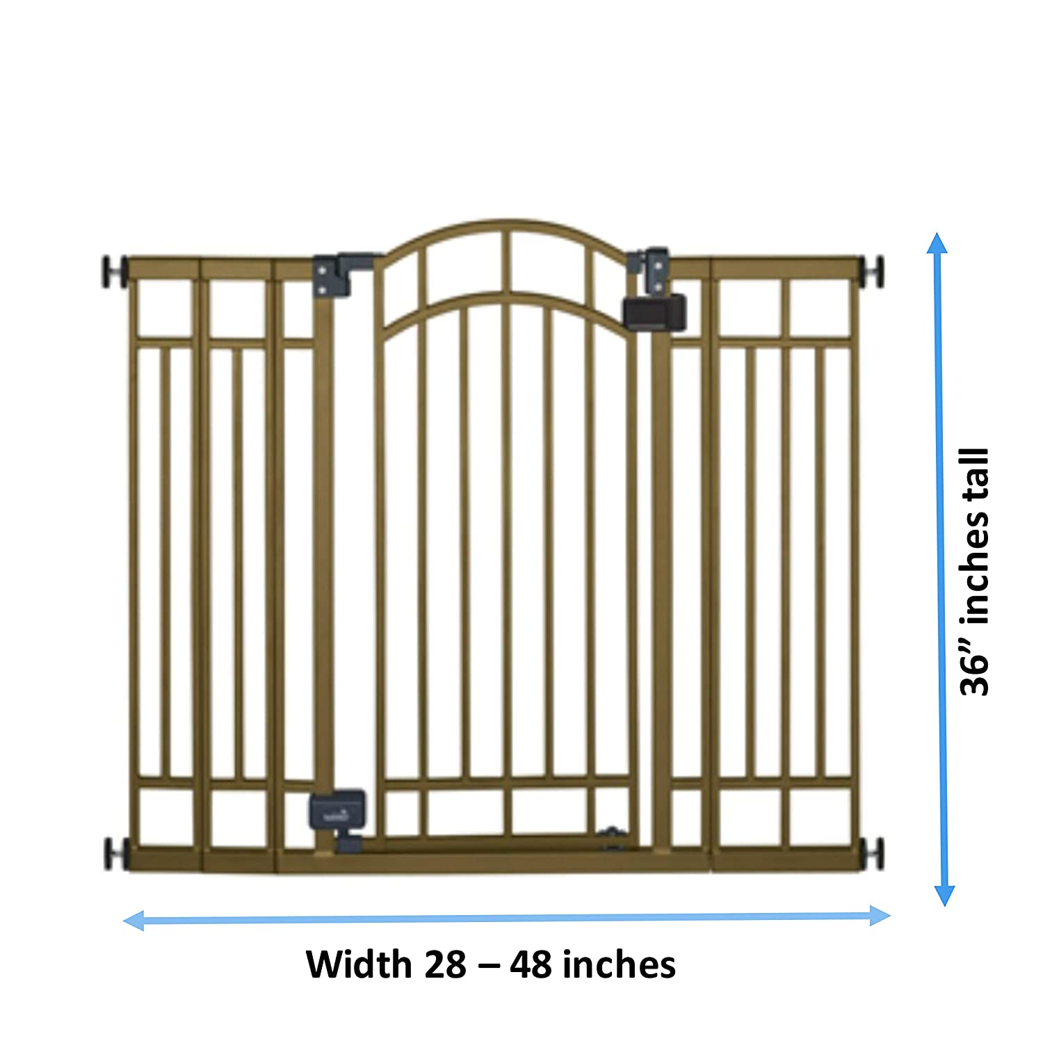 """36"""" inch Extra Tall Walk-Thru Metal Safety Gate - Expands 28"""" to 48"""" inches Wide Bronze Metal with Auto-Close Safety Feature"""