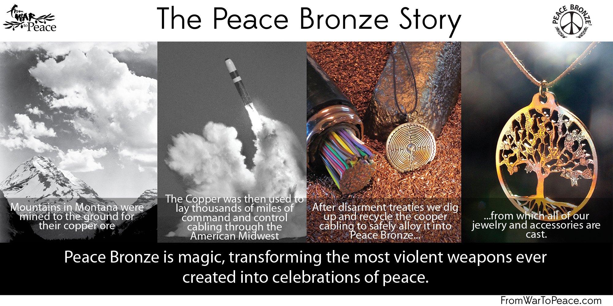Saint Christopher Peace Bronze Pendant Necklace on Adjustable Natural Fiber Cord