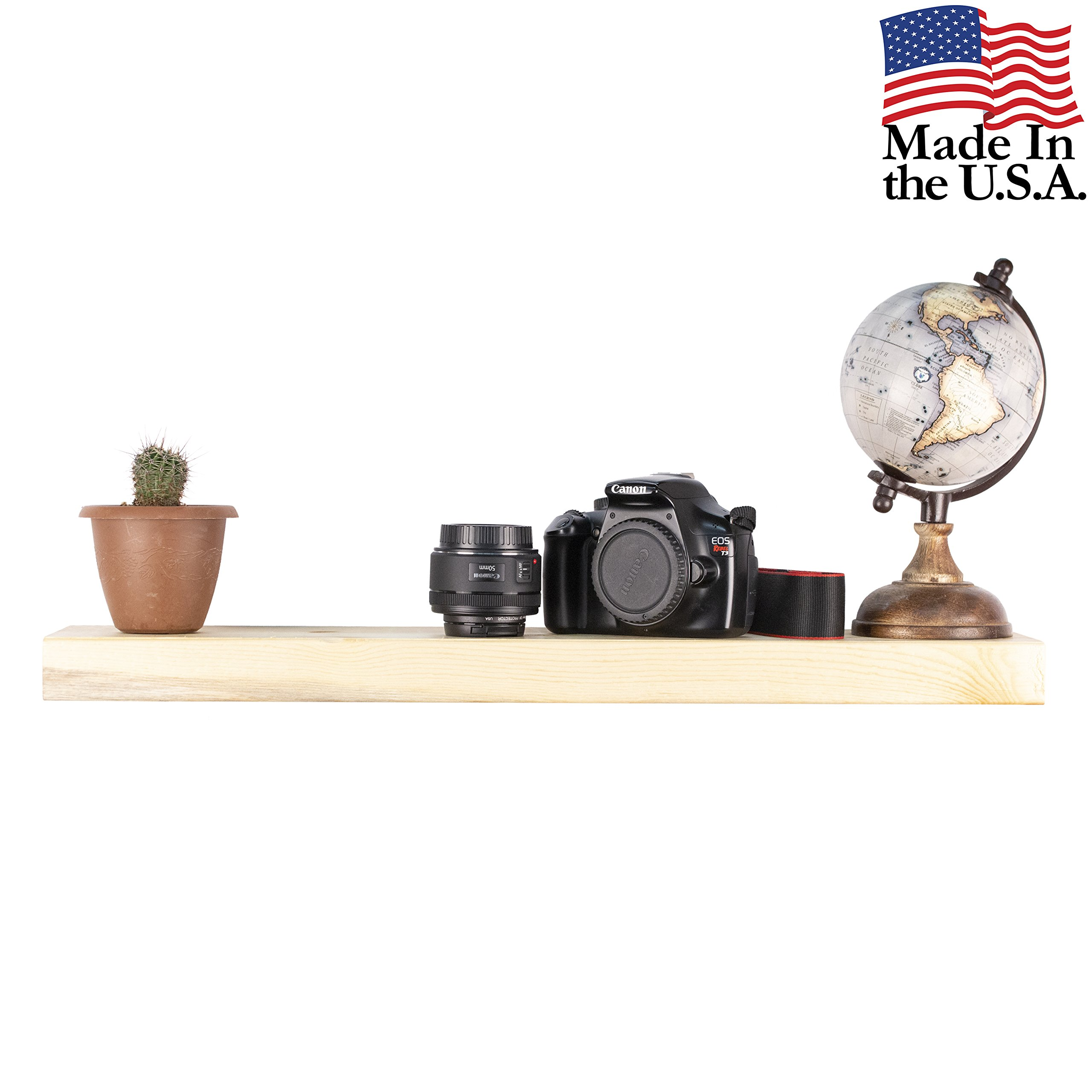 Floating Shelves Wall Mounted Shelf - Rustic Wood Decor Hanging for Bathroom Kitchen Bedrooms Living Room or Office Walls - Sturdy & Decorative Shelving Storage Spice Rack - USA Made - 2 Foot Natural