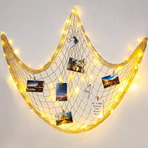 Hohean Natural Fishing Net Decor with Light 79 x 59 Inch Decorative Creamy White Fishing Net Beach Theme Decor for Party Bedroom Home Wall Hanging Fish Net Decorations