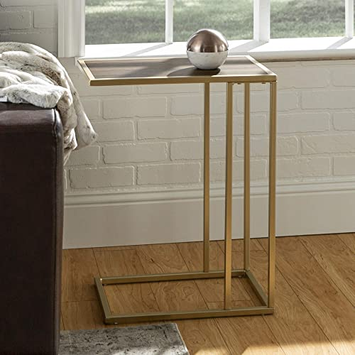 WE Furniture Modern Side End Accent C Table Living Room, 20 Inch, Walnut Brown, Gold