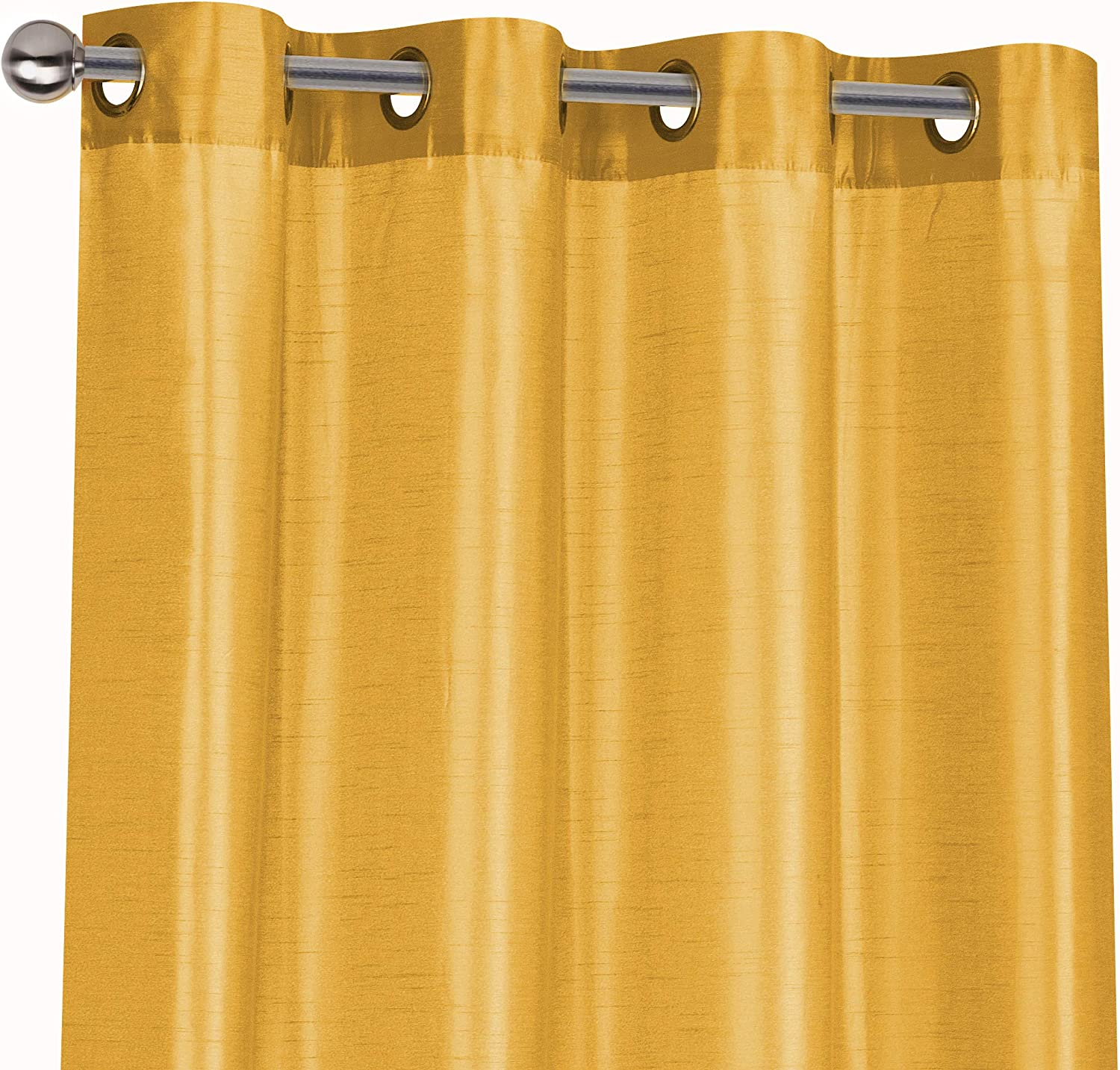 Regal Home Collections 2 Pack Semi Sheer Faux Silk Grommet Curtains Assorted Colors Gold Home Kitchen
