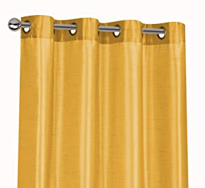 Regal Home Collections 2 Pack Semi Sheer Faux Silk Grommet Curtains - Assorted Colors (Gold)