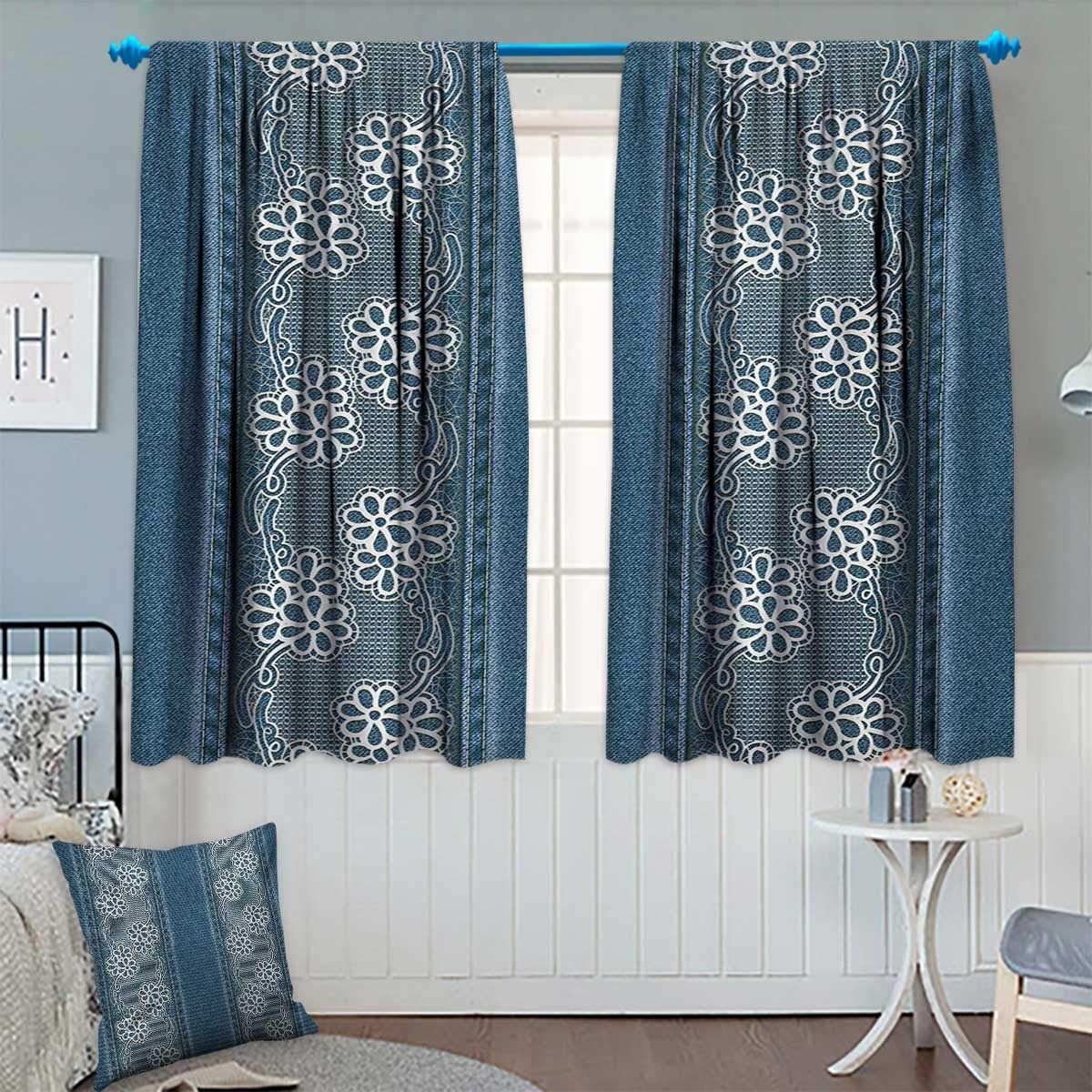 """Chaneyhouse Floral Waterproof Window Curtain Blue Jeans Background with White Flower Motifs Pattern Denim Themed Digital Print Blackout Draperies for Bedroom 72"""" W x 84"""" L Blue White"""