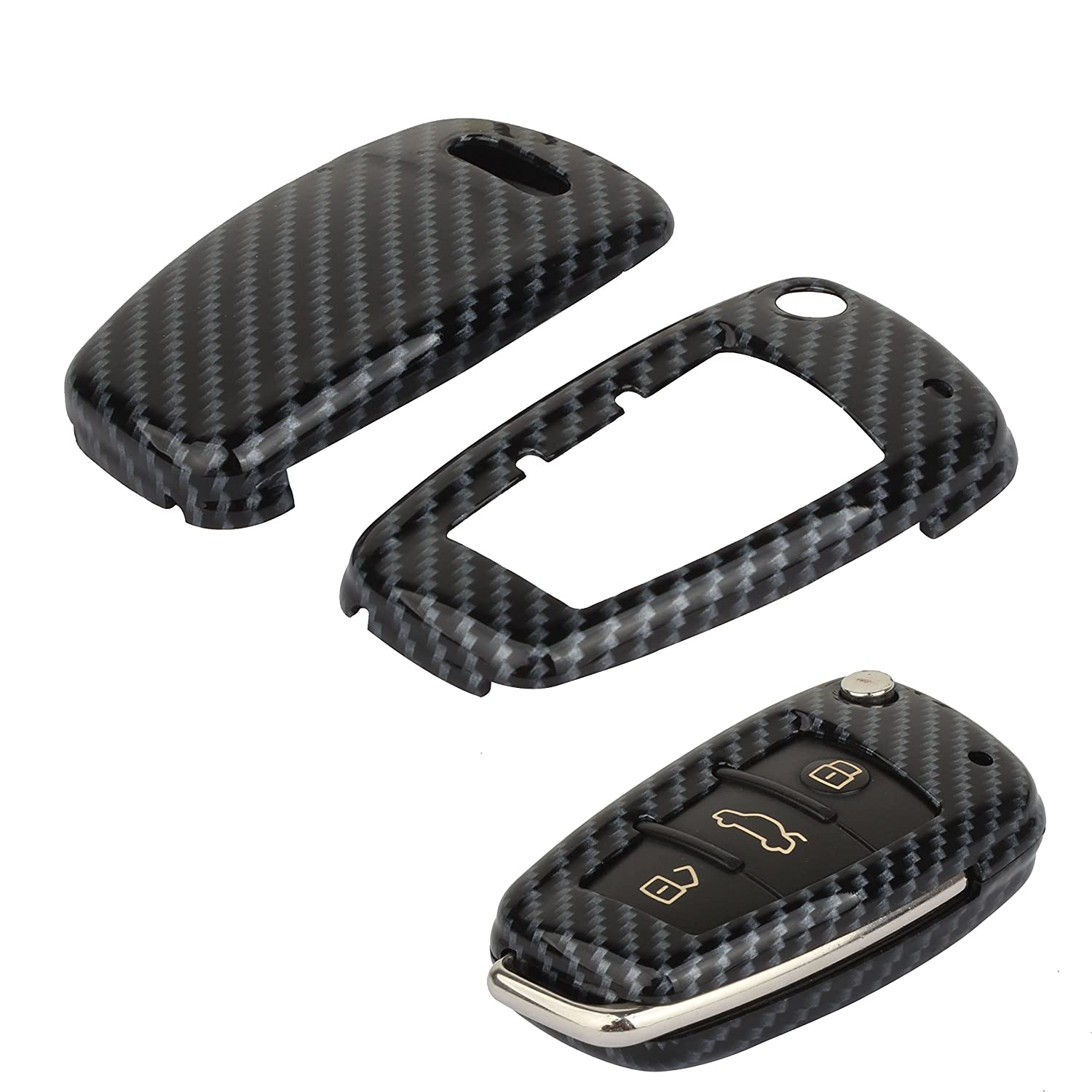 Pack of 2 TOMALL Silicone Key Cover Black for Audi A3 A4 A6 A8 TT Q7 3 Buttons Smart Remote Key