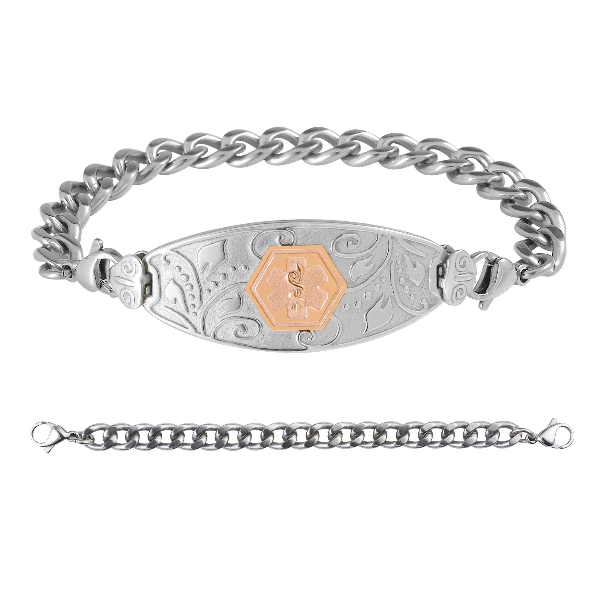 Divoti Custom Engraved Medical Alert Bracelets for Women, Pure Titanium Medical Bracelet, Medical ID Bracelet w/Free Engraving - Lovely Filigree Tag w/Titanium Curb-PVD Rose Gold-8.0'' by Divoti