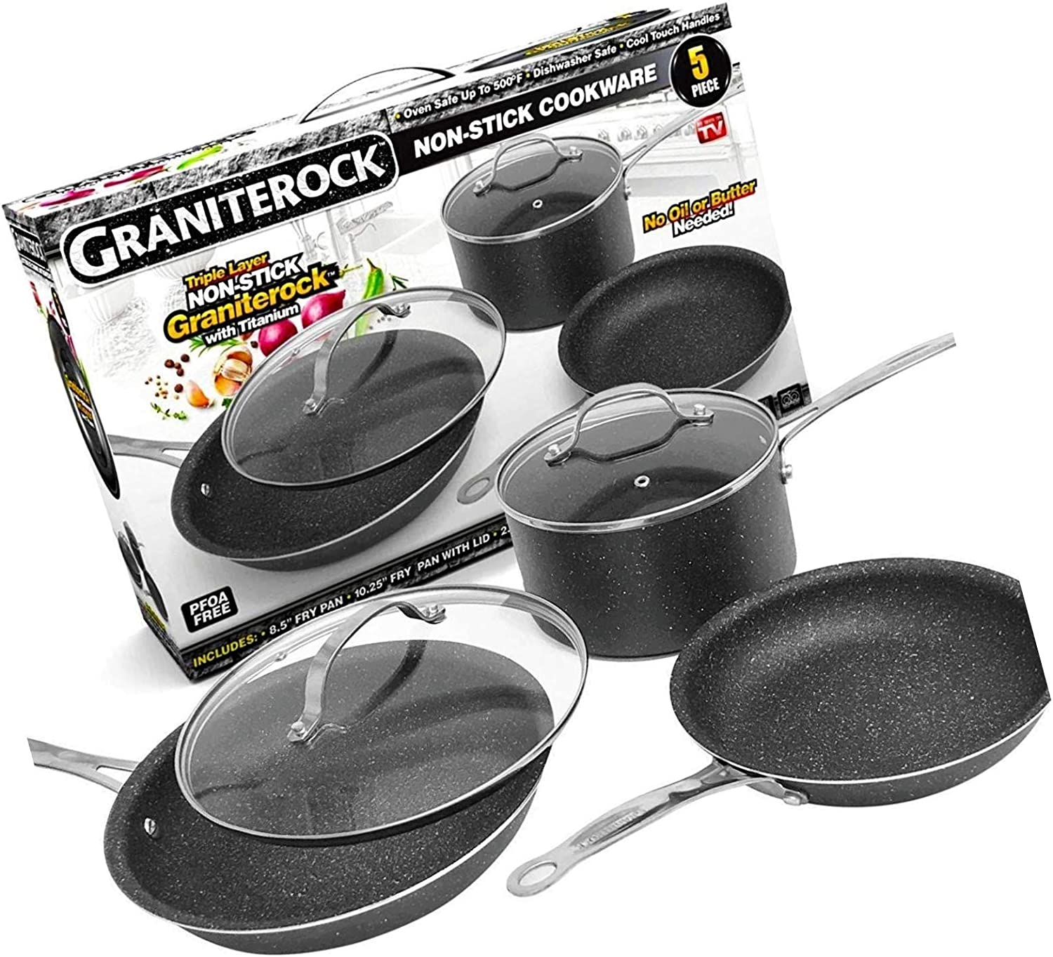 Amazon Com Nonstick 5 Piece Kitchen Cookware Set As Seen On Tv Granite Rock Ultimate Neew Kitchen Dining