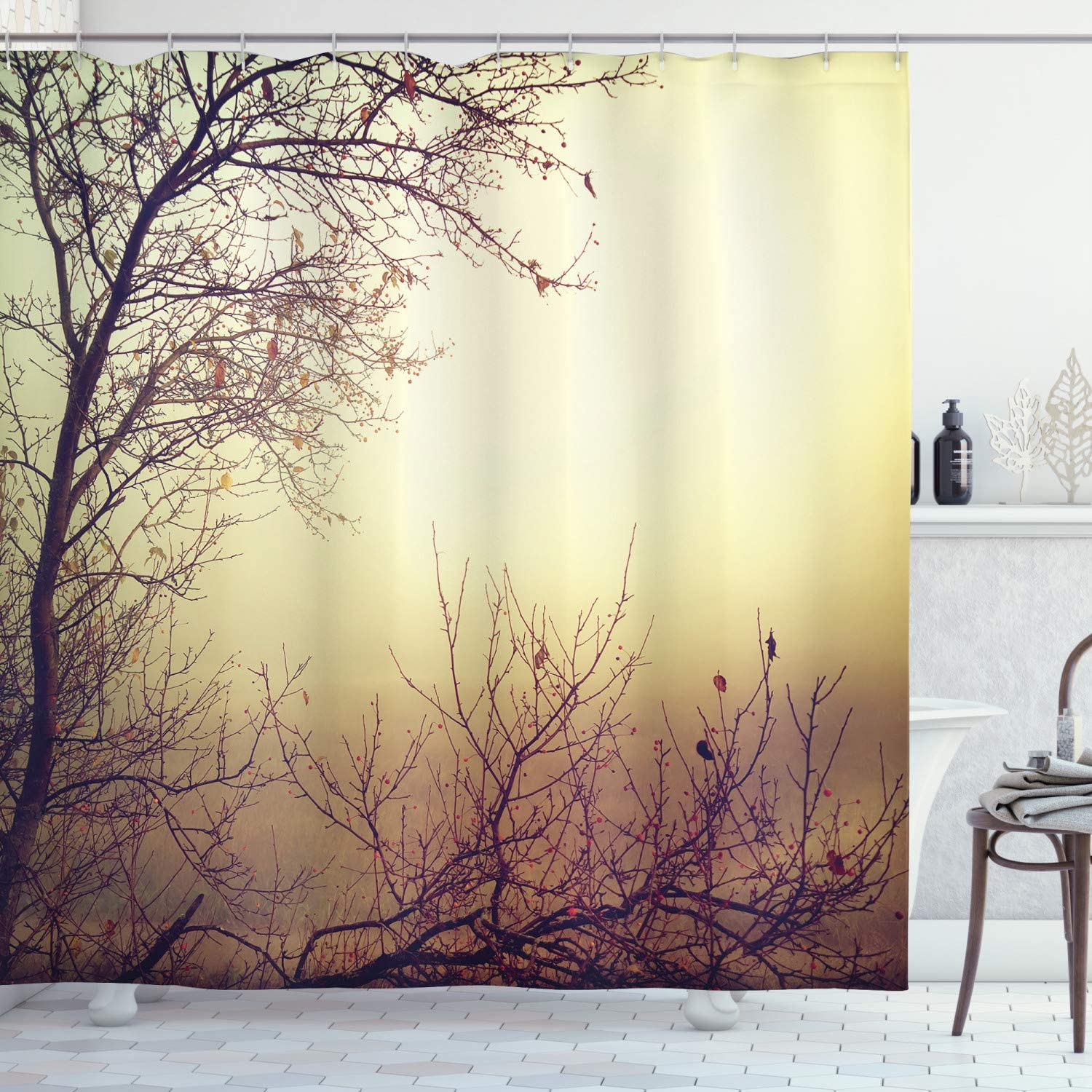"""Ambesonne Nature Shower Curtain, Vintage Leafless Autumn Tree Branches Background in Saturated Tones Ecology Art Picture, Cloth Fabric Bathroom Decor Set with Hooks, 75"""" Long, Sepia"""