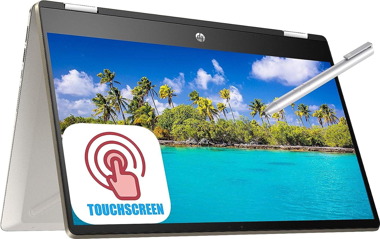 "HP Pavilion X360 14m 2-in-1 Convertible Laptop, 14"" FHD IPS Anti-Glare Micro-Edge Touchscreen Intel Core i5-8265U 12GB RAM 128GB SSD Type-C Backlit KB Fingerprint Win 10 HP Active Pen -Gold"