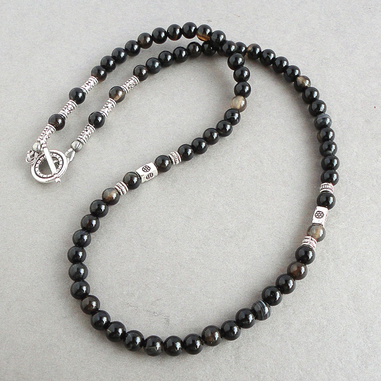 Handcrafted in USA Mens Necklace 19 inch Beaded Snowflake Obsidian and Black Onyx 6mm Gemstone