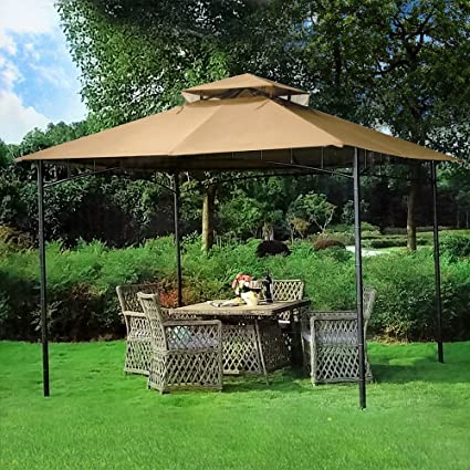 This simple gazebo provides a shaded outdoor space for your family and  features a vented double roof and polyester canopy that is  weather-resistant and fire ... - Gazebo Buying Guide - The 50 Best Gazebos For Your Backyard In 2017