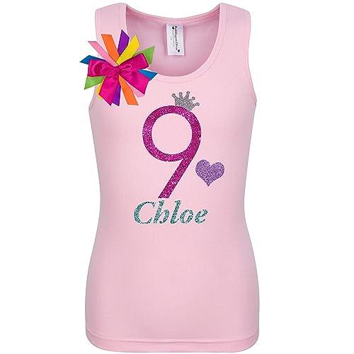 fb5cc26310fc1 Amazon.com: 9th Birthday Shirt Pink Glitter Rainbow T-Shirt Tank Top Custom  Name Age 9 Tween Girls Party Gift: Handmade