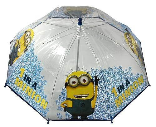 NUEVO Infantil Transparente/Azul Forma De Cúpula, diseño de Minions PVC transparente paraguas.