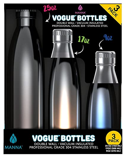 Amazon.com: Manna metálico Insulated Vogue Botellas, Plata ...