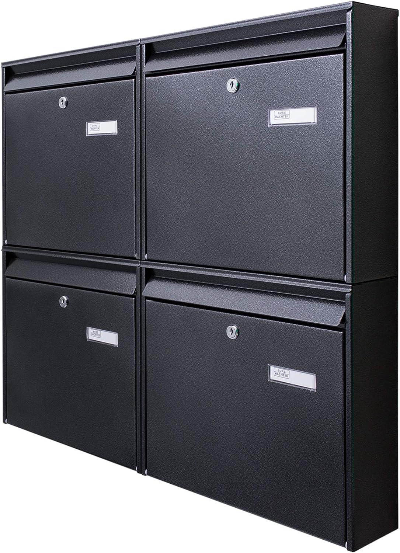 Briefkasten Set mit Namensschild 72,4 x 64,4 x 10cm Stahl verzinkt anthrazit schwarz DIN A4 Montagematerial Burg-W/ächter Briefkastenanlage 4 Fach 2 Schl/üssel