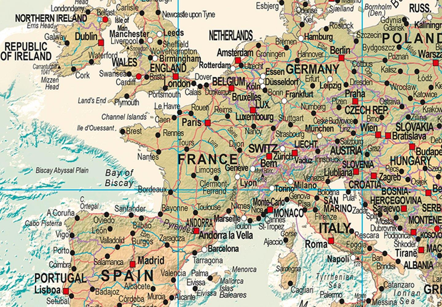 murando - Cuadro en Lienzo sintético Mapamundi 120x80 cm 1 Parte Cuadro de Pared impresión artística fotografía Imagen gráfica decoración Mapa k-A-0207-b-d: ...