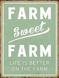 "Barnyard Designs Farm Sweet Farm Life is Better On The Farm Retro Vintage Tin Bar Sign Country Home Decor 10"" x 13"""