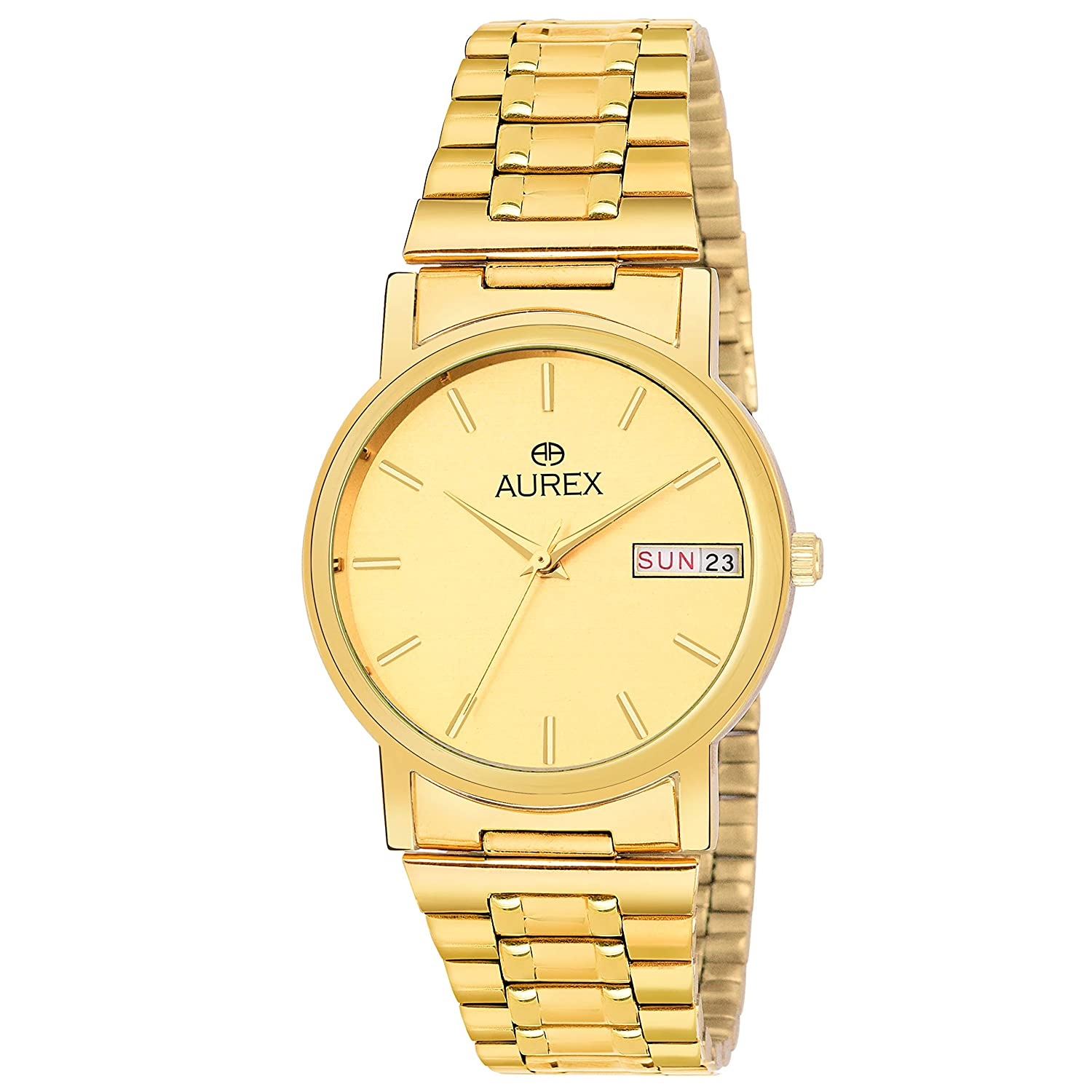 Aurex Analouge Gold Day & Date Dial 18 K Gold Plated Watch