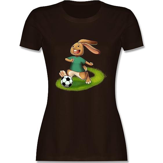 Fußball - Fußball Hase - S - Braun - L191 - Damen T-Shirt Rundhals