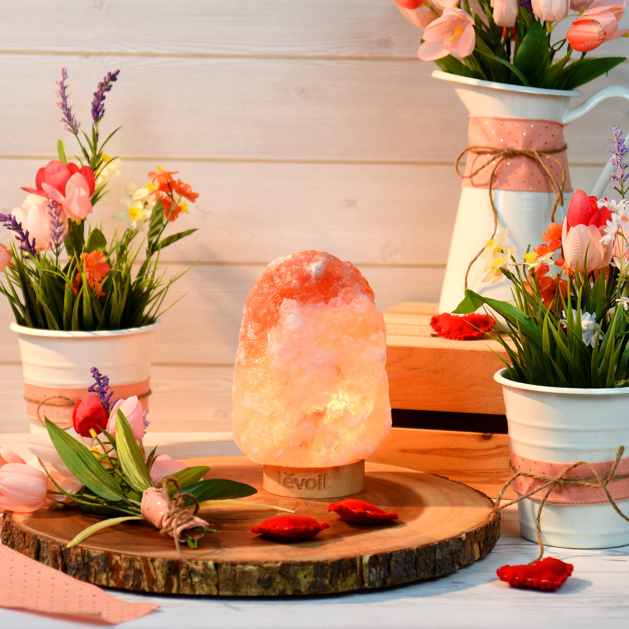 Levoit Kana Himalayan/Hymilain Sea, Pink Crystal Salt Rock Lamp, Night Light, Real Rubber Wood Base, Dimmable Touch Switch, Holiday Gift (ETL Certified, 2 Extra Bulbs), by LEVOIT (Image #6)