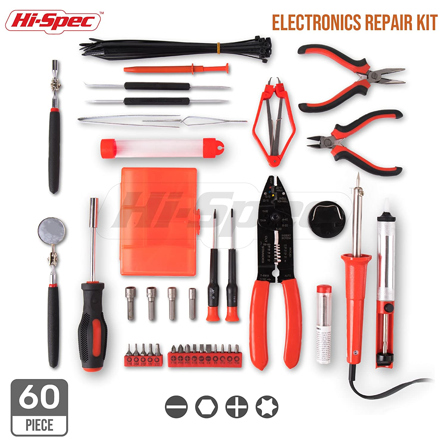 Hi Spec 60 Piece Electronics Electrical Engineer Tool Electronic Watchdog Kit Electronix With 30w Soldering Iron Desoldering Pump Wire Crimper Stripper Cutter