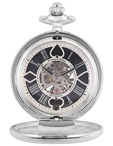 KS Reloj de Bolsillo Hombre con Cadena antiguos Steampunk Esqueleto Mecánico con Caja de Regalo KSP082: Amazon.es: Relojes